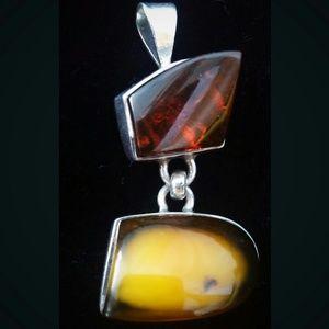 Jewelry - Big AMBER & SILVER Pendant